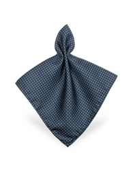 Forzieri Mini Polkadot Twill Silk Pocket Square Blue White