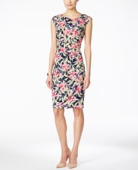 Connected Cap Sleeve Floral Print Gathered Sheath Dress Pink