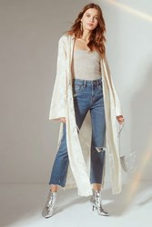 Urban Outfitters Uo Shelly High Slit Jacquard Kimono Light Brown