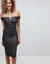 Ax Paris Bardot Midi Dress Black