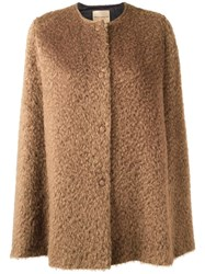 Erika Cavallini Short Shaggy Cape Brown