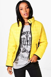 Boohoo Quilted Contrast Panel Jacket Mustard