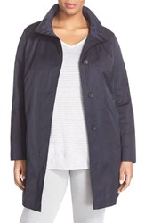 Plus Size Women's Basler Stand Collar A Line Coat Navy