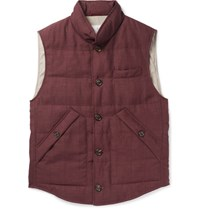 Brunello Cucinelli Slub Wool Linen And Silk Blend Down Gilet Burgundy