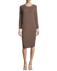 Joan Vass Sand Stitched Zip Pocket Shift Dress Petite Pebblestone