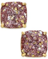 Kate Spade New York 14K Gold Plated Glittery Purple Square Stud Earrings