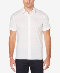 Perry Ellis Men's Dot Print Shirt Bright White