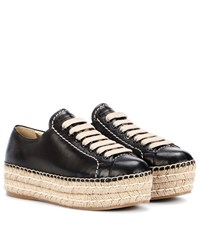 Prada Leather Espadrille Platform Sneakers Black