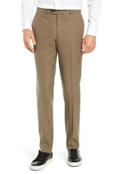 Nordstrom Shop Trim Fit Flat Front Stretch Wool Pants Taupe