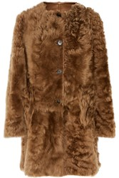 Marni Reversible Shearing And Leather Coat Brown