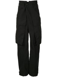 Julius High Waist Drop Crotch Cargo Pants Black