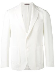 The Gigi Textured Blazer Men Cotton Linen Flax Polyamide Viscose 48 White