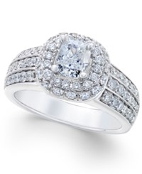 Macy's Diamond Double Halo Engagement Ring 1 3 4 Ct. T.W. In 14K White Gold