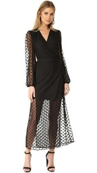 Yumi Kim Wicked Game Wrap Maxi Dress Black Swiss Dot