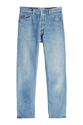 Re Done High Rise Ankle Crop Straight Leg Jeans Blue