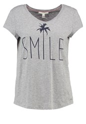 Tom Tailor Denim Print Tshirt Light Asphalt Melange Mottled Light Grey