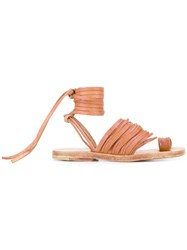 Dimissianos And Miller Ankle Lace Up Flat Sandals Women Calf Leather Leather 36 Nude Neutrals