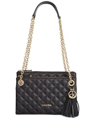 Calvin Klein Quilted Pebble Leather Triple Compartment Crossbody Black