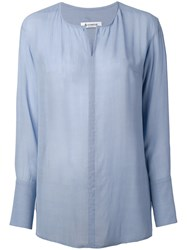 Dondup Avigail Long Sleeve Shirt Women Viscose 42 Blue