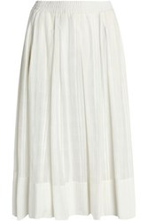 Dkny Pleated Embroidered Cotton Mousseline Midi Skirt White