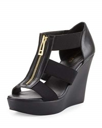 Charles By Charles David Paul Zip Front Leather Wedge Black