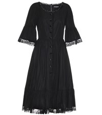 Dolce And Gabbana Stretch Cotton Dress With Lace Black