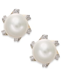 Macy's Cultured Freshwater Pearl 7Mm And Diamond Accent Stud Earrings In 14K Gold Black