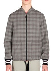 Lanvin Prince Of Wales Wool Racing Jacket Grey