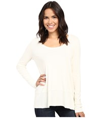 Lilla P Fine Rib Long Sleeve Swing Top Antique White Women's Clothing