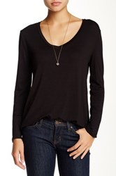Blvd Solid V Neck Long Sleeve Hi Lo Tee Black