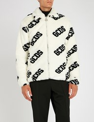 Gcds Logo Print Faux Fur Jacket White
