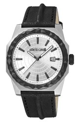 Roberto Cavalli Men's By Franck Muller Pyramid Leather Strap Watch 43Mm Black Silver Silver
