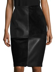 Ivanka Trump Faux Suede And Leatherette Pencil Skirt Black