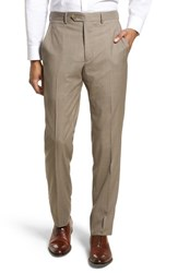 Santorelli Flat Front Check Wool Trousers Dark Tan