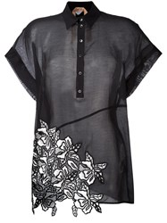 N 21 No21 Embroidered Detail Polo Shirt Black