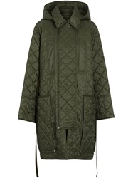 Burberry Lightweight Diamond Quilted Hooded Coat Green