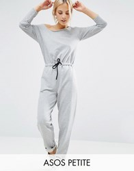 Asos Petite Jumpsuit With Off Shoulder In Sweat Grey