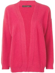 Incentive Cashmere Open Front Cardigan Red
