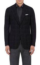 Cifonelli Men's Montecarlo Plaid Wool Flannel Two Button Sportcoat Dark Grey