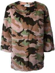Valentino Camouflage Coat Pink And Purple