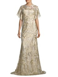 David Meister Metallic Embroidered Gown Gold