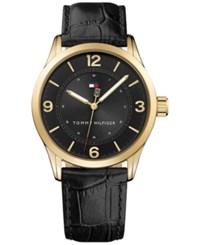 Tommy Hilfiger Men's Table Black Leather Strap Watch 42Mm 1791331