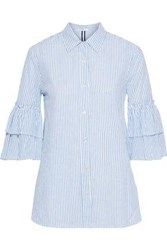 Stateside Woman Tiered Striped Cotton Shirt Light Blue