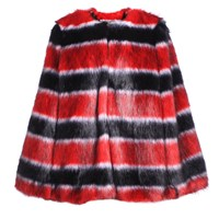 Ardent And Co Poppy Red Black Stripe Faux Mink Fur Cape