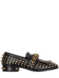 Gucci Studded And Tiger Leather Fringed Loafers