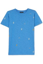 J.Crew Tossed Printed Slub Cotton Jersey T Shirt Blue