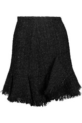 Goen J Ruffled Metallic Boucle Tweed Mini Skirt Black