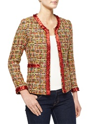 Michael Simon Tweed Jacket With Satin Trim
