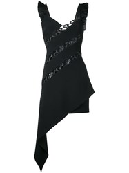 David Koma Asymmetric Chain Dress Women Cotton Polyamide Polyester Viscose 12 Black