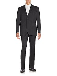 Saks Fifth Avenue Wool Striped Suit Charcoal